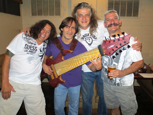 L->R: Vocalist Pete Snow with Bassists Stewart McKinsey, David Meidinger & Christopher Cardone @ LoDo Bash Bash 07/27/13.